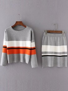 Grey Color Block Drop Shoulder Sweater With Skirt