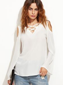 White V Back Criss Cross Cut Out Blouse