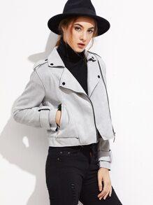 Grey Faux Suede Crop Biker Jacket