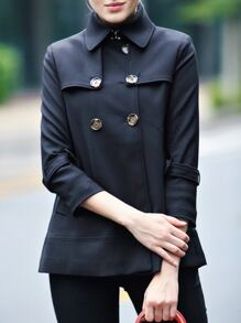 Black Lapel Pockets Short Coat