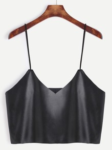 Black Faux Leather Crop Cami Top