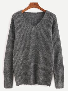Grey Ribbed Knit Drop Shoulder Sweater