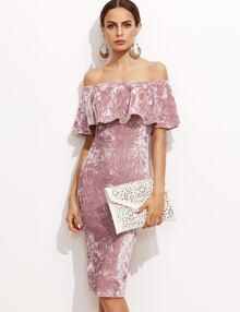 Pink Off The Shoulder Ruffle Sheath Dress