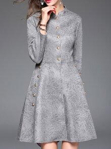 Grey Collar Pockets A-Line Dress