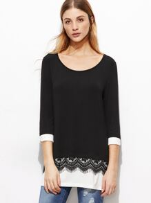 Black Lace Trim Contrast Cuff And Hem T-shirt