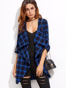 Blue Plaid Waterfall Collar Roll Sleeve Coat