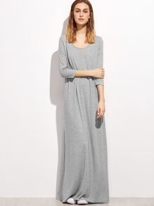Heather Grey Double Scoop Maxi Tee Dress