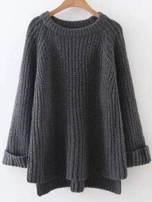 Dark Grey Raglan Sleeve Dip Hem Sweater