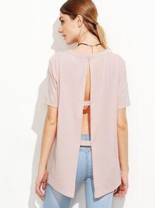 Pink Ladder Cutout Split Back T-shirt