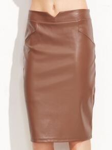 Khaki V Cut PU Pencil Skirt