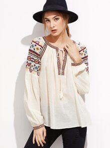 Apricot Tie Neck Embroidered Top