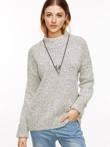 Heather Grey Drop Shoulder Cuffed Sweater
