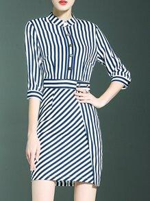Navy White Striped Sheath Dress