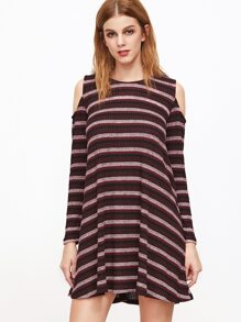 Burgundy Striped Cold Shoulder Shift Dress