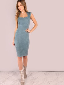 Faux Suede Queen Anne Midi Bodycon Dress BLUE GREY