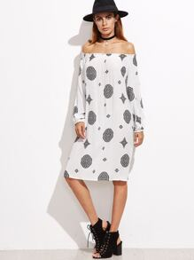 White Tribal Print Off The  Shoulder Lantern Sleeve Dress