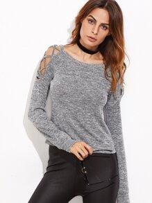 Grey Marled Crisscross Open Shoulder T-shirt