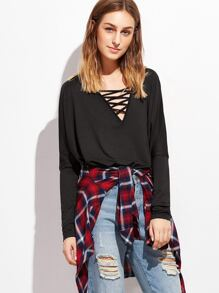 Black Crisscross V Neck T-shirt