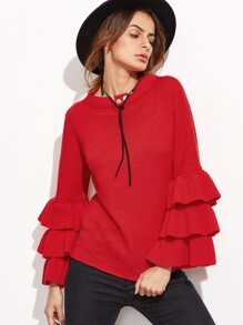 Red Layered Bell Sleeve Sweater