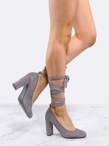 Almond Toe Suede Wrap Pumps GREY