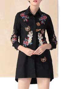 Black Lapel Embroidered High Low T-shirt Dress