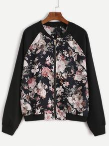 Floral Print Contrast Raglan Sleeve Jacket