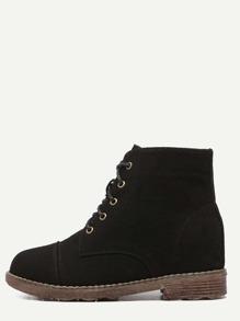 Black Nubuck Leather Cap Toe Hidden Heel Booties