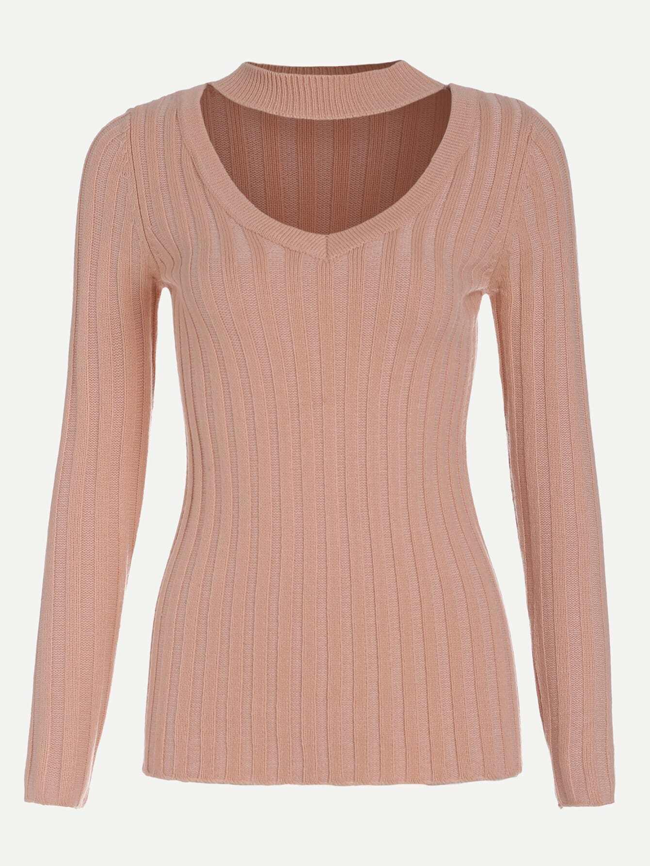 Pink Cutout Choker Slim Fit Ribbed Sweater EmmaCloth-Women Fast ...