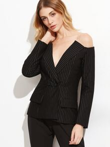 Black Pinstriped Off The Shoulder Blazer