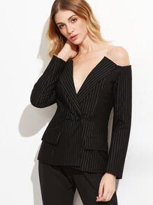Black Pinstriped Off The Shoulder Blazer