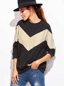 Contrast Chevron Pattern Sweatshirt