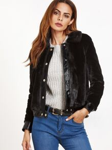 Black Faux Fur Button Up Jacket