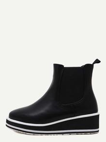 Black PU Square Toe Elastic Wedge Boots