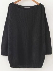 Black Round Neck Drop Shoulder Knitwear