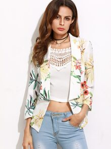 White Botanical Print Shawl Collar Blazer