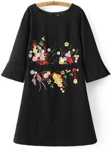 Black Flower Embroidery Bell Sleeve Dress