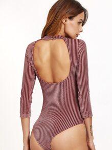 Brown Cutout Back Striped Velvet Bodysuit