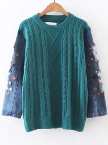 Blue Cable Knit Sequin Ripped Denim Sleeve Sweater