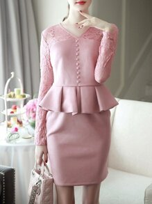 Pink V Neck Contrast Lace Peplum Sheath Dress
