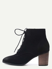 Black Nubuck Leather Cork Heel Lace Up Booties