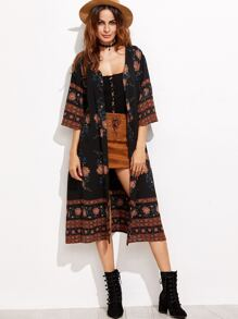 Flower Print Three Quarter Length Sleeve Kimono