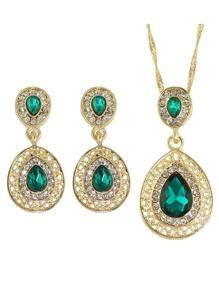 Green Elegant Rhinestone Necklace Earrings Wedding Jewelry Set