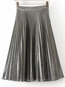 Grey Pleated A Line Midi Skirt
