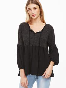 Black Tie Neck Contrast Hem Blouse
