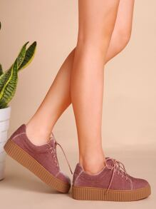 Pink Velvet Lace Up Rubber Sole Sneakers