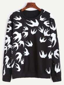 Black Peace Doves Print Sweatshirt