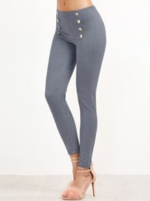 Grey Double Breasted Skinny Pants