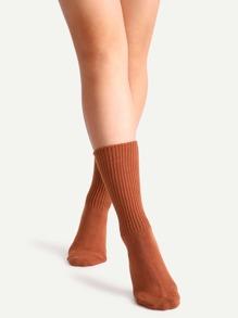 Dark Orange Ribbed Socks