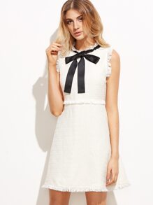 White Bow Tie Neck Frayed Trim Tweed Dress