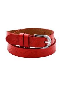 Red Metal Buckle Knurling Belt